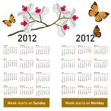 Stylish calendar with flowers  2012. Stylish calendar with flowers and butterflies for 2012. Week starts on Monday Royalty Free Stock Photos
