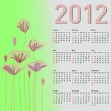 Stylish calendar with flowers for 2012. Royalty Free Stock Photos