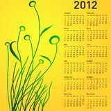 Stylish calendar with flowers for 2012. Week starts on Sunday Royalty Free Stock Photo