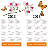 Stylish calendar with flowers and butterflies. For 2013. Week starts on Monday stock illustration