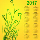 Stylish calendar with flowers for 2017. Week starts on Monday Royalty Free Stock Photo