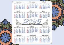 Stylish calendar with flowers for a year Stock Image