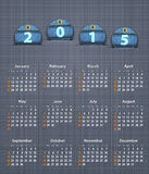 Stylish calendar for 2015 on linen texture with jeans tags Royalty Free Stock Photos