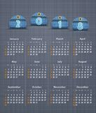 Stylish calendar for 2018 on linen texture with jeans tags. Royalty Free Stock Photography