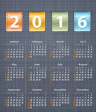 Stylish calendar for 2016 on linen texture with leather Stock Photography