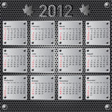 Stylish calendar with metallic  effect for 2012. Sundays first Royalty Free Stock Images