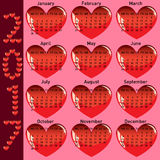 Stylish calendar with red hearts for 2017 Royalty Free Stock Photo