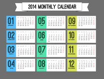Stylish calendar to a new 2014 year Royalty Free Stock Photography
