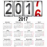 Stylish calendar for 2017. Week starts on Monday Stock Images