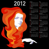 Stylish calendar with woman  for 2012. Week starts on Sunday Stock Photography