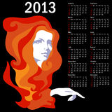 Stylish calendar with woman  for 2013. Week starts on Sunday Royalty Free Stock Photos