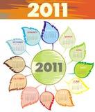 Stylish Calendar for Year 2011 (starts Sunday) Stock Photo