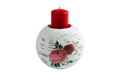 Stylish candleholder with red candle and inscriptions about love. White round candlestick with stylis  pattern of roses and inscriptions about love. Red candle Royalty Free Stock Image
