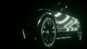 Stylish car in the rays of light. Auto presentation on a black background. stock footage