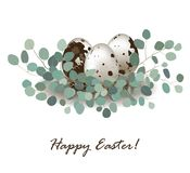 Stylish card background with easter quail eggs and eucalyptus leaves. Easter greeting banner, place for text. Vector illustration Stock Photos