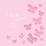 Stylish card with butterflies on a pink background. Stylish card with a butterflies on a pink background Royalty Free Stock Image