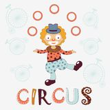 Stylish card with clown. Stylish card with juggling clown Vector Illustration