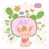 Stylish cartoon card with doodled rabbit Royalty Free Stock Image