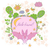 Stylish cartoon card made of cute flowers, doodled bat Stock Photo