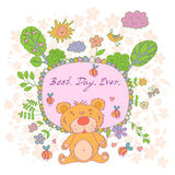 Stylish cartoon card made of cute flowers, doodled  bear Royalty Free Stock Photos