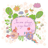 Stylish cartoon card made of cute flowers, doodled birds Royalty Free Stock Photos
