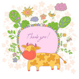 Stylish cartoon card made of cute flowers, doodled cow Royalty Free Stock Photo