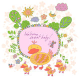Stylish cartoon card made of cute flowers, doodled duck Royalty Free Stock Image