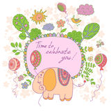 Stylish cartoon card made of cute flowers, doodled  elephant Royalty Free Stock Photography