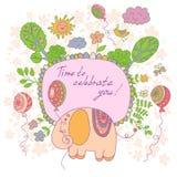 Stylish cartoon card made of cute flowers, doodled  elephant Royalty Free Stock Photography