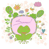 Stylish cartoon card made of cute flowers, doodled frog Stock Photo