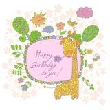 Stylish cartoon card made of cute flowers, doodled giraffe Stock Photos
