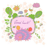 Stylish cartoon card made of cute flowers, doodled hedgehog Royalty Free Stock Image