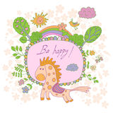 Stylish cartoon card made of cute flowers, doodled horse Stock Images