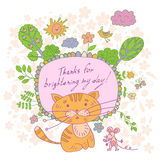 Stylish cartoon card made of cute flowers, doodled kitten Royalty Free Stock Photography