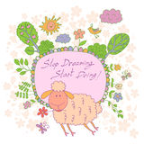 Stylish cartoon card made of cute flowers, doodled  lamb Stock Images