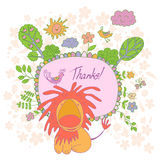 Stylish cartoon card made of cute flowers, doodled  lion Stock Photo