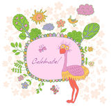 Stylish cartoon card made of cute flowers, doodled ostrich Royalty Free Stock Images