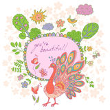 Stylish cartoon card made of cute flowers, doodled peacock Royalty Free Stock Photos