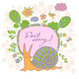 Stylish cartoon card made of cute flowers, doodled snail, trees, Stock Image