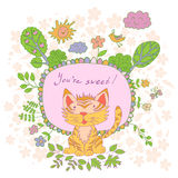 Stylish cartoon card made of cute flowers, doodled tiger Royalty Free Stock Photo