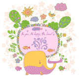 Stylish cartoon card made of cute flowers, doodled whale Stock Photos