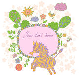 Stylish cartoon card made of cute flowers, doodled zebra, trees, Stock Photos
