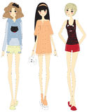 Stylish cartoon girls with cute clothings set Stock Photography