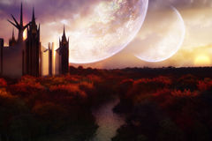Stylish Castle. Uniquely designed castle placed on an amazingly beautiful landscape with glorious sunset and moons Stock Photography