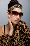 Stylish casual pretty young woman, in sunglasses Royalty Free Stock Images