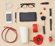 Stylish casual set of accessories and stuff for urban woman Royalty Free Stock Photos