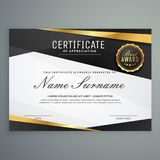 Stylish certificate of appreciation award template in black and. Golden color Royalty Free Stock Photos