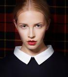 Stylish Charismatic Female with White Collar Royalty Free Stock Photo