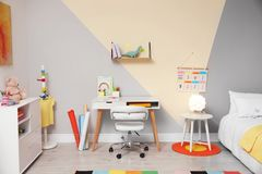 Free Stylish Child Room Interior With Bed And Desk Stock Image - 166761741