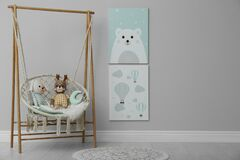 Free Stylish Child`s Room With Adorable Paintings And Hanging Chair. Space For Text Royalty Free Stock Photo - 195487165